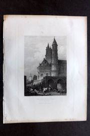 Fisher (Pub) 1844 Antique Print. Cathedral at Worms, Rhine, Germany